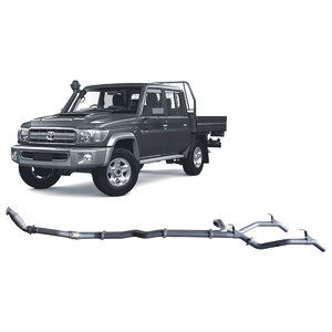 "Redback Extreme Duty 3"" Twin Exhaust System for Toyota Landcrusier 79 Series, Dual Cab, 2012-16, Turbo Back, Non-DPF Models"