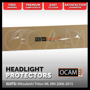 OCAM Headlight Headlamp Protectors for Mitsubishi Triton ML MN 2006-2015 Covers