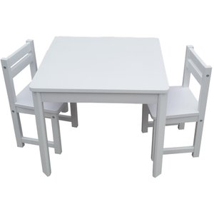 Kids Timber Table and Chair Set in Colour White Boys Girls Indoor Outdoor