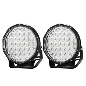 Pair 9inch 370w LED Driving Light Cree Black Round Spotlight Offroad