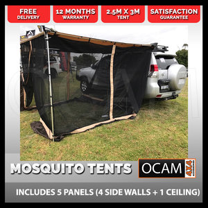 Car Side Awning Fly Mesh Shade Mosquito Net 2.5M x 3M - Mesh room