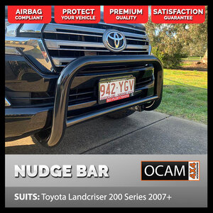 Nudge Bar For Toyota Landcruiser 200 series 2007-20, Stainless, Powder Coated Black, Airbag Compliant