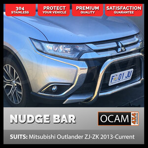 OCAM Nudge Bar For Mitsubishi Outlander ZJ-ZK 2013-18, 304 Stainless Steel