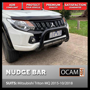 Nudge Bar For Mitsubishi Triton MQ 2015-Current Airbag Compliant Stainless Powder Coat Black