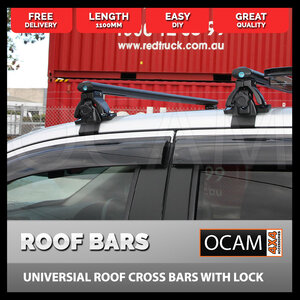 Universal Roof Cross Bars With Lock -  Black Texture Powder Coat