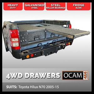 OCAM Rear Drawers For Toyota Hilux N70, Dual Cab, 2005-15