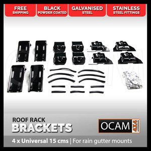 Set of 4 Roof Rack Brackets Universal 15 cms - For Rain Gutter Mounts 4X4