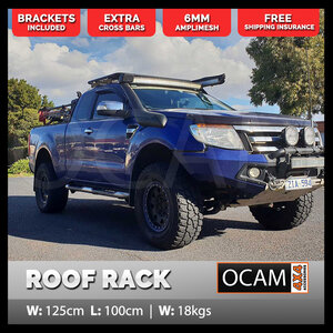 OCAM Aluminium Flat Platform Roof Rack for Space Cab 1000 x 1250 Alloy