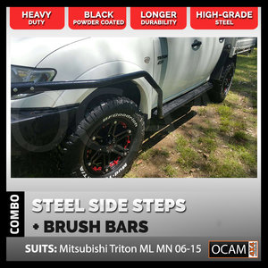 OCAM Steel Side Steps & Brush Bars for Mitsubishi Triton ML MN 2006-15