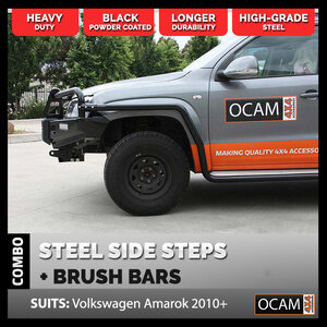 OCAM Heavy Duty Steel Side Steps & Brush Bars for Volkswagen Amarok 2010-Current