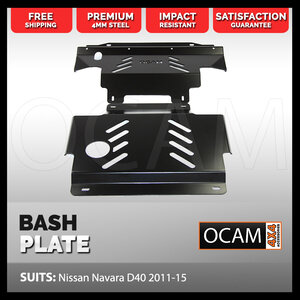 OCAM 2pce Steel Bash Plates For Nissan Navara D40 2011-15, 4mm Black, 445 x 480mm
