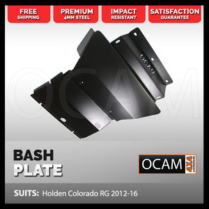OCAM Steel Bash Plates For Holden Colorado RG 2012-16, 4mm Steel Black