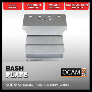 OCAM Steel Bash Plates For Mitsubishi Challenger PB PC 2009-15, Steel 4mm Silver