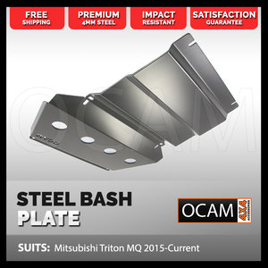 OCAM Steel Bash Plates For Mitsubishi Triton MQ/MR 2015-Current, 4mm - Silver (2nd style)