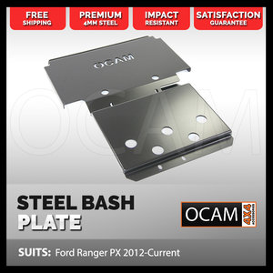OCAM Steel Bash Plates For Ford Ranger PX 2012-Current, 4mm Silver (2nd style)