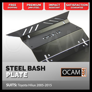 OCAM Steel Bash Plates For Toyota Hilux N70 SR SR5 2005-15 4mm, Black