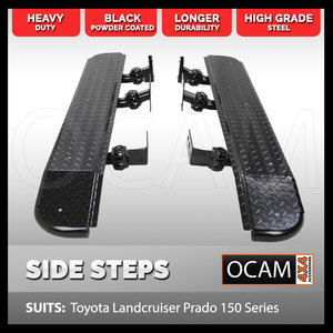 Rock Sliders for Toyota Prado 150 Series Heavy Duty Steel Side Steps 4WD 4X4