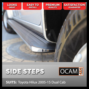 Aluminium Side Steps for Toyota Hilux 2005-15 Dual Cab Running Boards