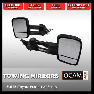 OCAM Extendable Towing Mirrors For Toyota Prado 120 Series, Black, Electric