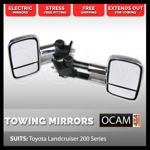 Extendable Towing Mirrors For Toyota Landcruiser 200 Series, Chrome, Electric