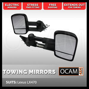 OCAM Extendable Towing Mirrors For Lexus LX470, Black Electric