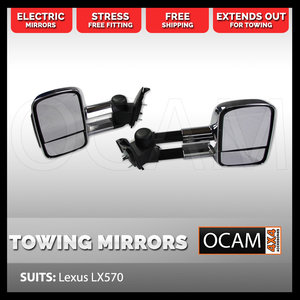 Extendable Towing Mirrors For Lexus LX570 Chrome, Smoked Indicators, Electric