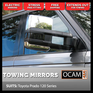 OCAM Extendable Towing Mirrors For Toyota Prado 120 Series, Chrome, Electric