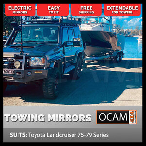 OCAM Extendable Towing Mirrors For Toyota Landcruiser 70 75 76 78 79 Chrome ELECTRIC