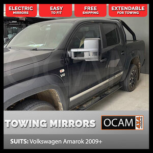 OCAM Extendable Towing Mirrors For Volkswagen Amarok 2009-Current, Black, Electric
