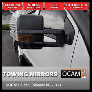 OCAM Extendable Towing Mirrors For Holden Colorado RG 2012+ Black Orange Indicators, Electric