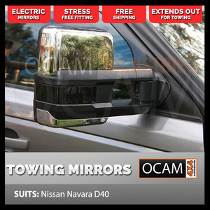 OCAM Extendable Towing Mirrors For Nissan Navara D40 2005-15 Chrome, Electric