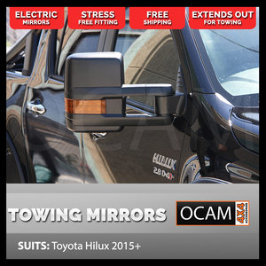 OCAM Extendable Towing Mirrors For Toyota Hilux 2015+ Black, Orange Indicators, Electric