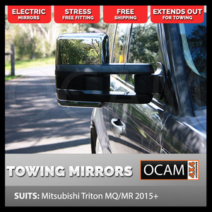 OCAM Extendable Towing Mirrors For Mitsubishi Triton MQ 2015+ Chrome, Electric