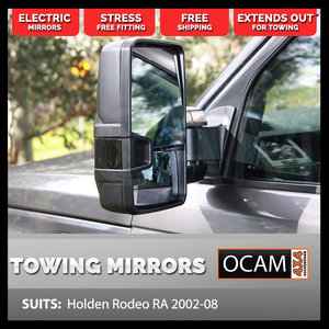 OCAM Extendable Towing Mirrors For Holden Rodeo RA 2003-08 Black, Electric