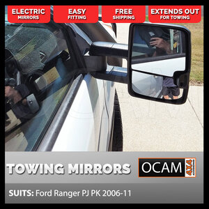 OCAM Extendable Towing Mirrors For Ford Ranger PJ PK 2006-11, Black, Electric