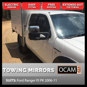 OCAM Extendable Towing Mirrors For Ford Ranger PK 2009-11 Chrome, Electric