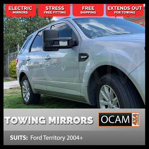 OCAM Extendable Towing Mirrors For Ford Territory 2004+ Black, Electric