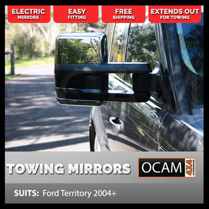 OCAM Extendable Towing Mirrors For Ford Territory 2004+ Chrome, Electric
