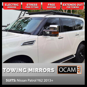 OCAM Extendable Towing Mirrors For Nissan Patrol Y62 2012+ Chrome with Orange Indicators, Electric, Heated