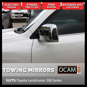 OCAM TM3 Towing Mirrors For Toyota Landcruiser 200 Series, Chrome, Electric