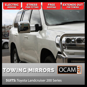 OCAM TM3 Towing Mirrors For Landcruiser 200 Series, Chrome, Smoke Indicators, Electric