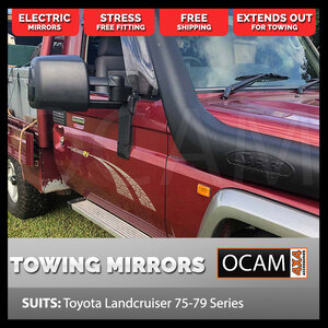 OCAM TM3 Towing Mirrors For Toyota Landcruiser 75 76 78 79 Series, Electric With Indicators
