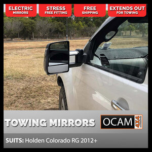 OCAM TM3 Towing Mirrors For Holden Colorado RG 2012+ Black Smoke Indicators, Electric