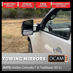 OCAM TM3 Towing Mirrors For Holden Colorado 7 Trailblazer Black, Smoke Indicators, Electric