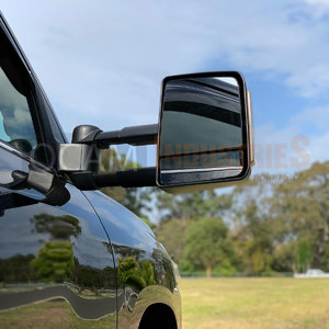 OCAM TM3 Towing Mirrors For Isuzu D-MAX 2007-11 Black, Smoke Indicators, Electric