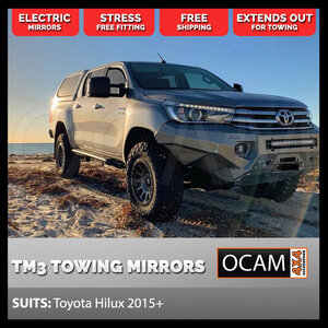 OCAM TM3 Towing Mirrors For Toyota Hilux Revo 2015+ Black, Electric