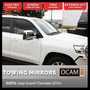OCAM TM3 Extendable Towing Mirrors For Jeep Grand Cherokee 2010+ Chrome, Indicators, Electric, BSM, Heated